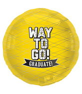 "18"" Foil Balloon Way To Go Yellow-Round"