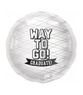 "18"" Foil Balloon Way To Go White-Round"