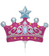 "14"" Princess Crown Airfill Balloon Includes Cup and Stick."
