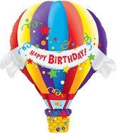 "42"" Birthday Hot Air Balloon Jumbo Mylar Balloon"