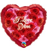"18"" I Love You Heart Of Roses Mylar Balloon"
