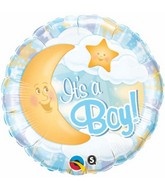"18"" It's A Boy Celestial Blue Mylar Balloon"
