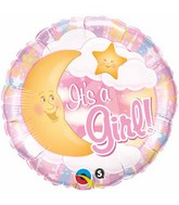 "18"" It's A Girl Celestial Pink Mylar Balloon"
