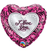 "18"" I Love You Sparkle Filigree Mylar Balloon"
