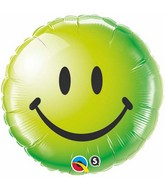"18"" Green Smiley Face Packaged Mylar Balloon"