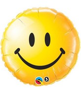 "18"" Yellow Smiley Face Packaged Mylar Balloon"