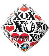 "18"" Red Hearts, Love, X's & O's Black, White & Red"