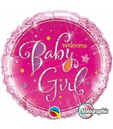 "18"" Welcome Baby Girl Stars Pink Balloon"