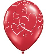 "11"" Romantic Hearts Red (50 ct.)"