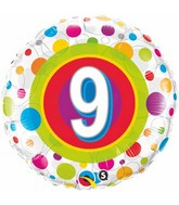 "18"" Age 9 Colourful Dots Packaged Mylar Balloon"