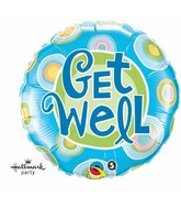 "18"" Get Well Blue Dots Packaged Mylar Balloon"