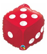 "18"" Dice  (w/Hang Tab) Red Packaged Mylar Balloon"