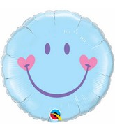 "18"" Sweet Smile Face – Pale Blue Mylar Balloon"
