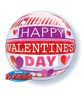"22"" Valentine&#39s Day Stripe Patterns Bubble Balloon"
