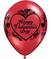 "11"" Valentine&#39s Filigree Balloons All-Around  (50 Count)"