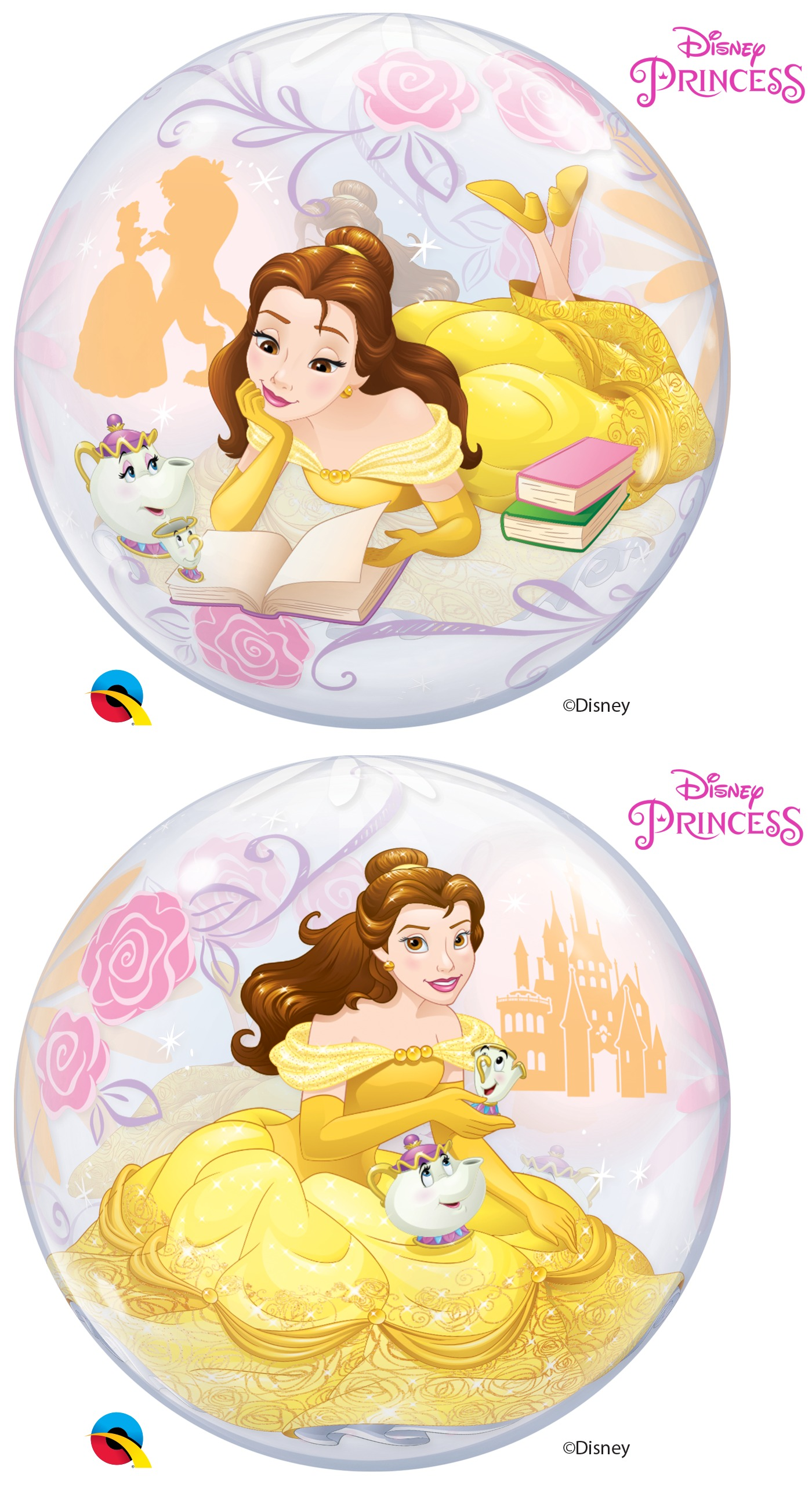 22 Single Bubble Disney Princess Belle Bargain Balloons Mylar