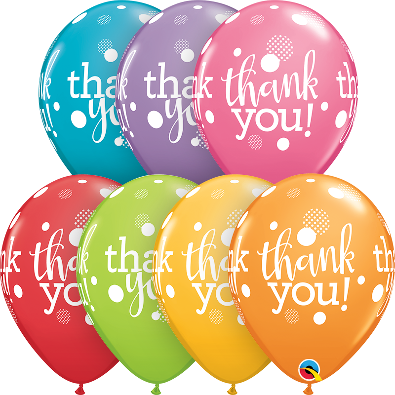 "11"" Festive Assorted 50CT Thank You Dots Latex Balloons"