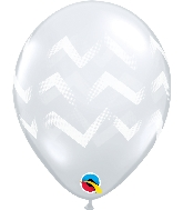 "11"" Diamond Clear 50 Count Chevron Stripes Latex Balloons"