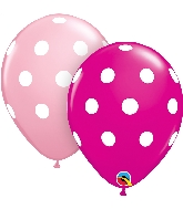 "11"" Pink&Berry 50 Count Big Polka Dots Latex Balloons"