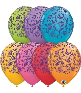 "11"" Festive Assorted 50 Count Damask Latex Balloons"