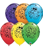 "11"" Bright Rainbow 50 Count Smiley Stars Latex Balloons"