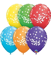 "11"" Bright Rainbow 50 Count Confetti Latex Balloons"