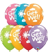 "11"" Festive Assorted 50CT Get Well Sunshine Latex Balloons"