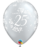 "11"" Silver 50CT 25th Anniversary Damask Latex Balloons"