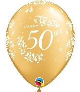 "11"" Gold 50CT 50th Anniversary Damask Latex Balloons"