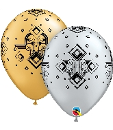 "11"" Silver & Gold 50CT Art Deco Pattern Latex Balloons"