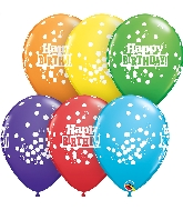 "11"" Bright Rainbow 50 Count Birthday  Latex Balloons"