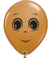 "16"" Mocha Brown 50 Count Masculine Face Latex Balloons"
