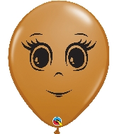 "16"" Mocha Brown 50 Count Feminine Face Latex Balloons"