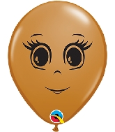"5"" Mocha Brown 100 Count Feminine Face Latex Balloons"