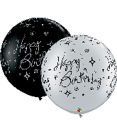 "30"" Black/Silver 2 Count Birthday Sparkles Latex Balloons"