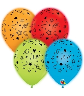 "11"" Q-Lite Special Assorted Stars, Dots Latex Balloons 4 CT"