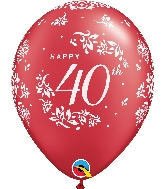 "11"" Pearl Ruby Red 50CT 40th Anniversary Latex Balloons"