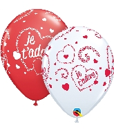 "11"" Red&White 50CT Je T&#39Adore-Coeurs Latex Balloons"