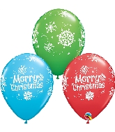 "11"" Merry Christmas Snowflakes Latex Balloon"