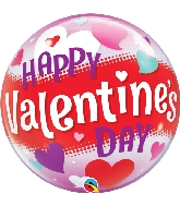 "22"" Happy Valentine&#39s Day Hearts Bubble Balloon"