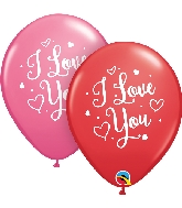 "11"" Latex Red and Rose I Love You Hearts Script (50 Count)"