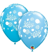 "11"" Baby Boy Blue Dots-A-Round Latex Balloons 50 Count"