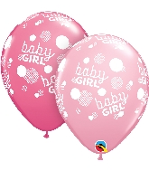 "11"" Baby Girl Dots-A-Round Latex Balloons 50 Count"