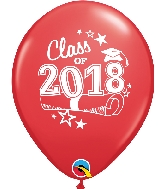 "11"" Class of 2018 Latex Balloons 50 Count Red"