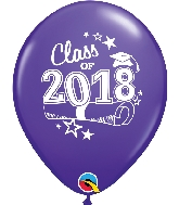 "11"" Class of 2018 Latex Balloons 50 Count Purple Violet"