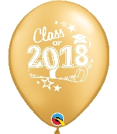 "11"" Class of 2018 Latex Balloons 50 Count Gold"