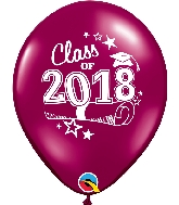 "11"" Class of 2018 Latex Balloons 50 Count Sparkling Burgundy"
