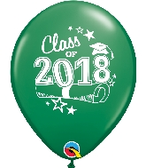 "11"" Class of 2018 Latex Balloons 50 Count Green"