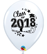 "11"" Class of 2018 Latex Balloons 50 Count White"