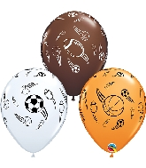 "11"" Sports Ball Asst Latex Balloons (white, brown, Orange)"